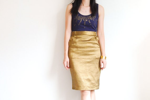 Vintage Mermaid Glam Golden Pencil Skirt