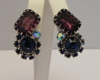 Vintage Rhinestone Clip Earrings Amethyst Sapphire