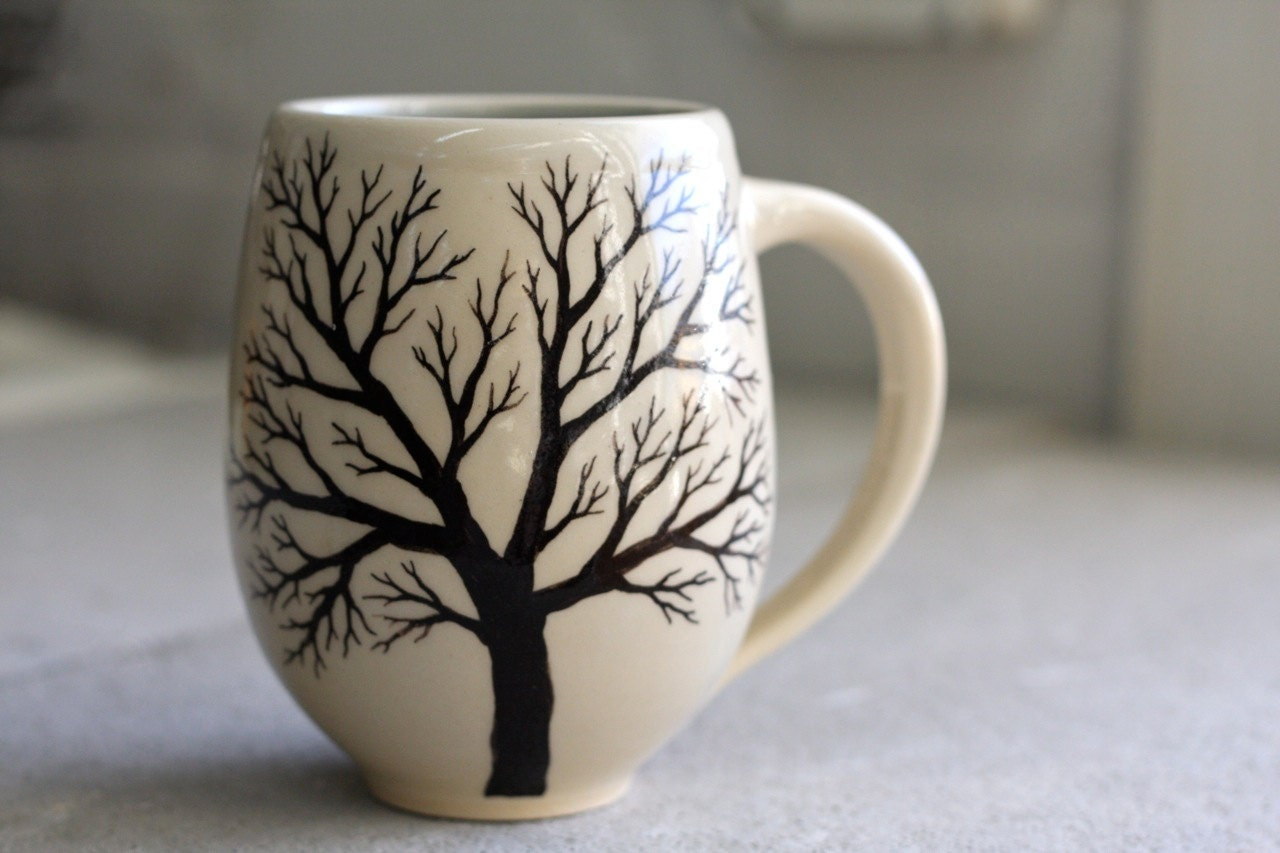 Belly tree mug pottery coffee cup with hand painted tree in for Pottery cup ideas