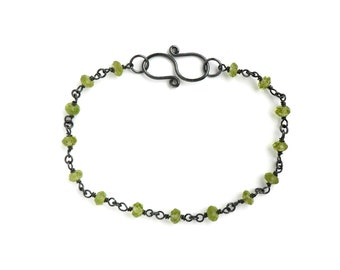 Blackened Sterling Wire Wrapped Bracelet with Bright Apple Green Faceted Peridot Rondelles and Handmade S-Hook Clasp