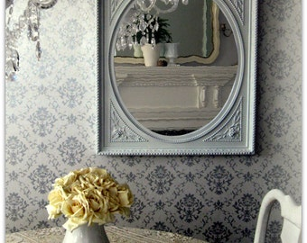 Ornate Antique White Mirror Shabby Chic Cottage Chic