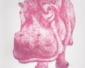 Pink Hippo Art Print Limited Edition Hand-Pulled Collograph Print