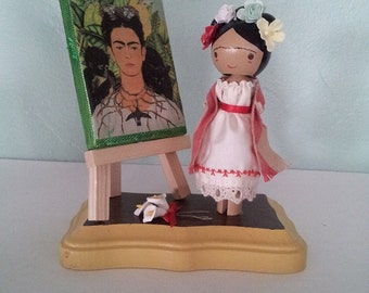Frida Kahlo Clothespin Doll - MADE TO ORDER