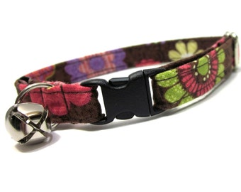Cat Collar- Pink and Brown Mia Floral