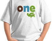 One Birthday Shirt - 1st birthday t-shirt with chameleon infant toddler personalized  family t-shirt - Chameleon shirt - baby birthday shirt