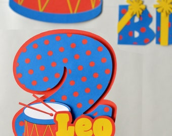 Baby Boy First Birthday Music Party CAKE TOPPER 3-D - Musical Instruments, Baby Shower - CUSTOM Name/Age