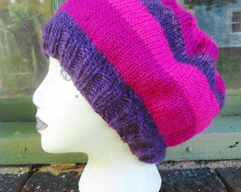 Striped Slouch Hand Knit Hat Pink Purple Ladies Warm Winter Tam
