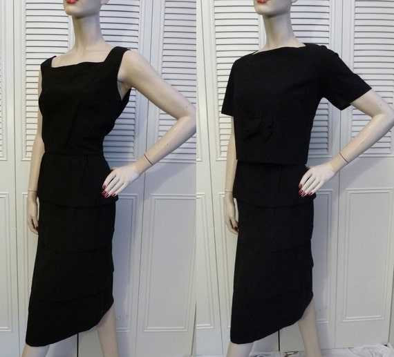 Vintage 1960s Black Dress - Early 60s - Tiered Skirt w/ Jacket M