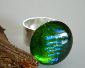 Fused Glass Emerald Green Cocktail Ring
