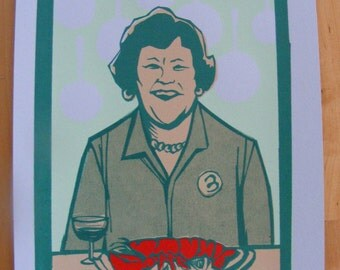 Julia Child limited edition screen print purple variant