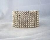 Wide Wedding Bridal Bracelet Cuff, Rhinestone Bracelet, Bridesmaids Bracelet, 8 Row Rhinestone Bracelet