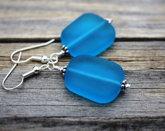 Blue Sea Glass Earrings, Seaglass Earrings, Sea Glass Jewelry, Beach Glass Earrings, Beach Glass Jewelry, Beach Jewelry Seaglass Jewelry 070