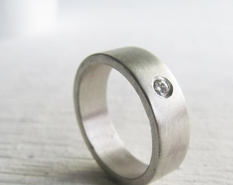 Men's wedding band - palladium sterling silver and Moissanite engagement ring - his and hers - his and his - hers and hers