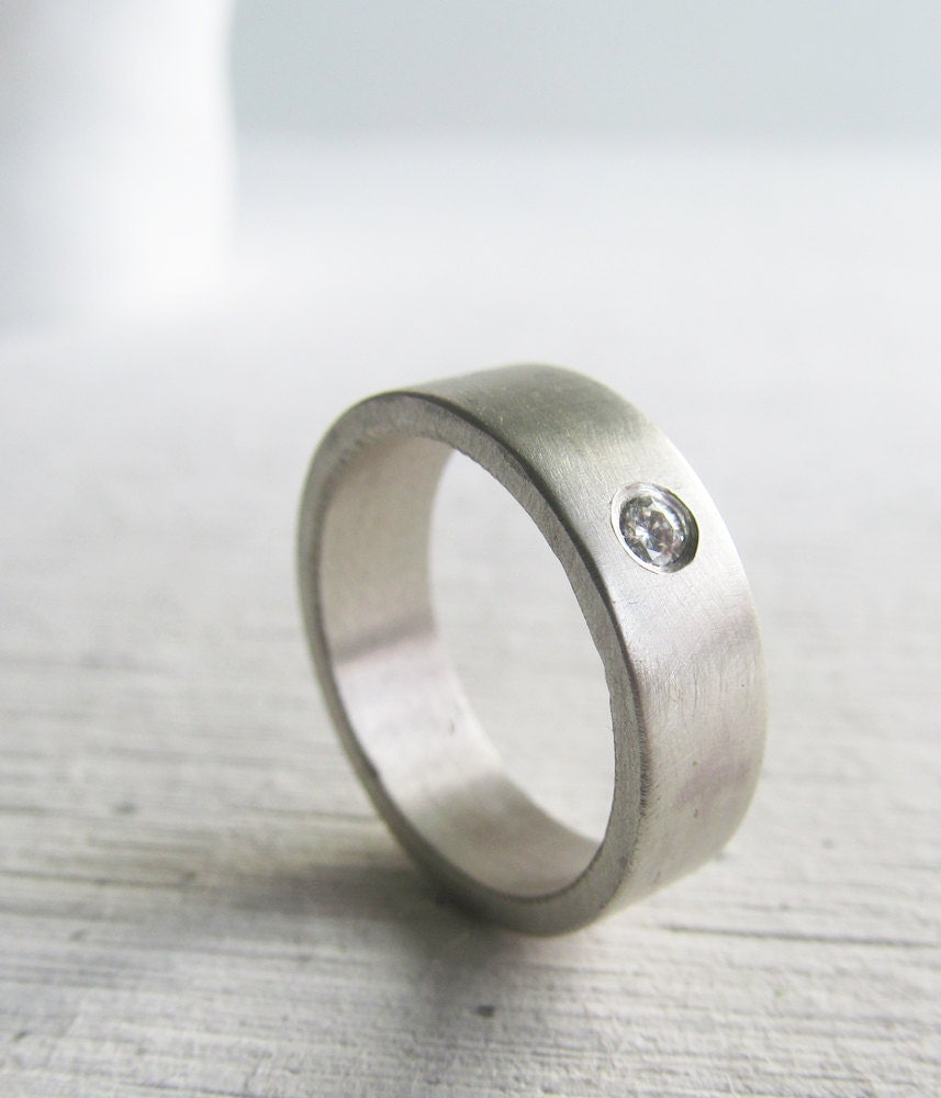 Men's Wedding Band Palladium Sterling Silver And