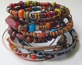 Tribal Gypsy Bangles - Spicy color Set - Boho - Nomadic - Stack Of 12 Bracelets