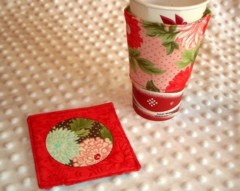Reuseable Floral Coffee Cup Sleeve/Cozy & Coaster Set - Reversible