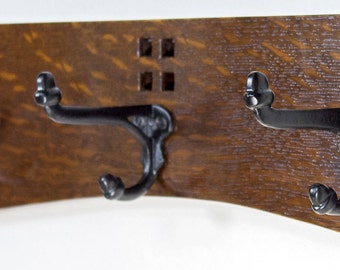 Coat Rack 14 Inch 3 Cast Iron Hook  Arts and Crafts / Mission Style in Quartersawn White Oak