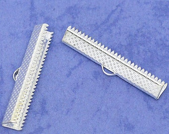 50 Silver Plated Ribbon End Cap Crimp Beads 35 x 7.5mm - FD52
