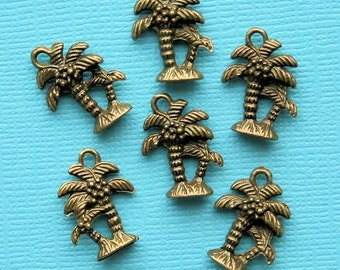 6 Palm Tree Charms Antique Bronze Tone 2 Sided - BC553