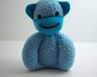 Child safe sock monkey plsuh stuffed toy for babies and toddlers in two shades of blue, boutique quality baby toy, baby shower gift