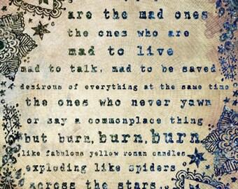 The Mad Ones - PAPER PRINT, jack kerouac quote, typographic print, jack kerouac poster, boho decor