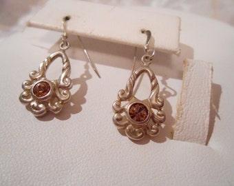 Vintage earrings, 925 earrings, topaz crystal earrings, floral earrings, sterling silver earrings, pierced earrings