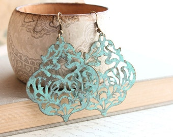 Large Patina Earrings Filigree Dangle Earrings Large Drop Lacy Metal Lace Blue Aqua Verdigris Turquoise Rustic Patina Jewelry Boho Chic