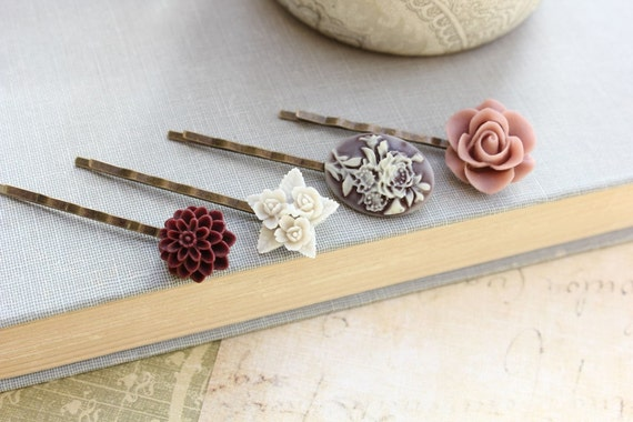 Flower Bobby Pins, Dusty Plum Pink Rose, Brown, Burgundy Purple, Hair Pins, Floral Hair Accessories