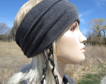 Bohemian Headband Turban Hair Wrap Cotton Blend Charcoal Gray Wide Knit Hairband  A1095