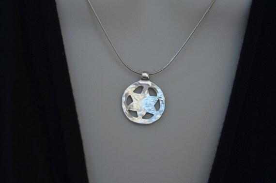 Star of David - Magen David Necklace - Sterling Silver Hammered- Bat-Mitzvah ,12th Birthday, Jewish ,Rosh Hashana Gift