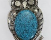 Vintage Owl Necklace Silver With Turquoise Stone Large
