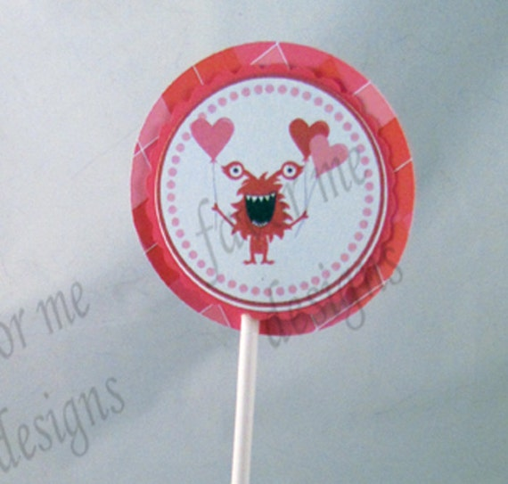 Monster Valentine Cupcake Toppers