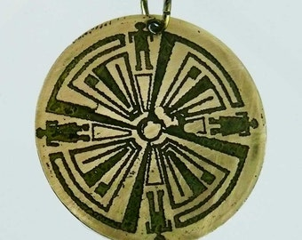 Haven Guard brass circle pendant, haven tv show jewelry, Geekery jewelry, haven syfy necklace,