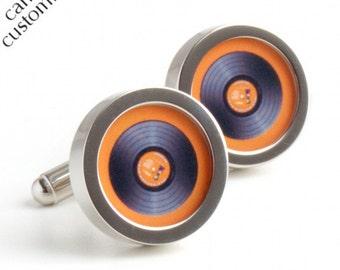 DJ Cufflinks in Orange Vinyl, Spin the Record Right Round Baby PC400