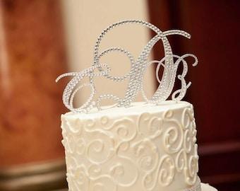 Swarovski Wedding Cake Toppers,  Crystal Monogram Cake Toppers