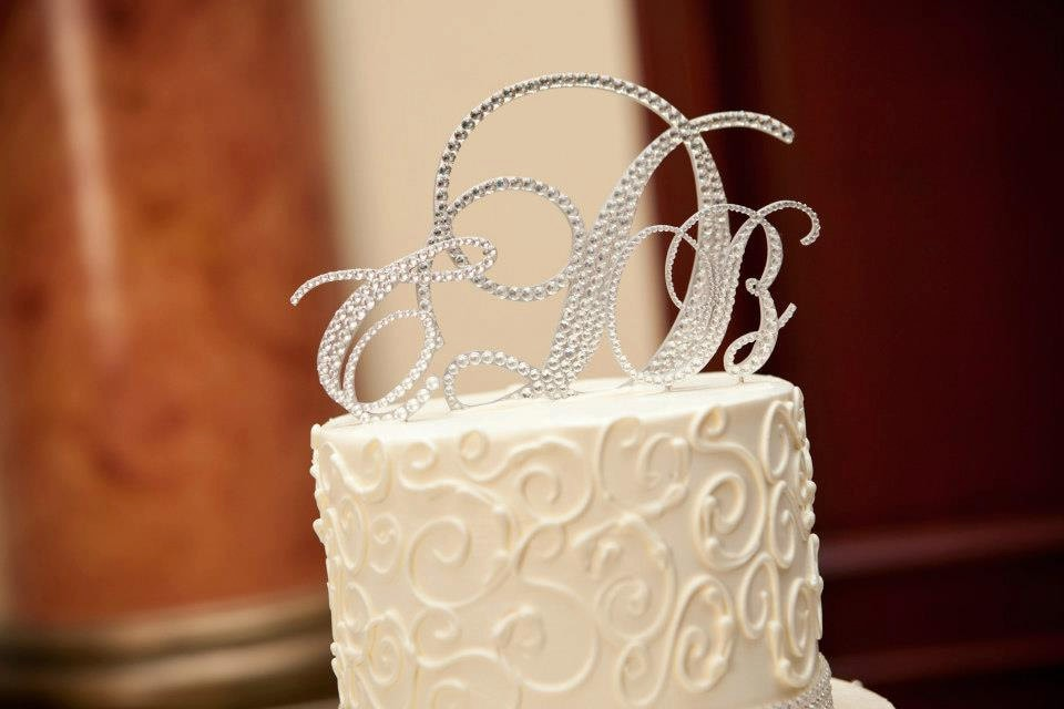 swarovski crystal monogram wedding cake topper swarovski wedding cake toppers monogram cake toppers 20674