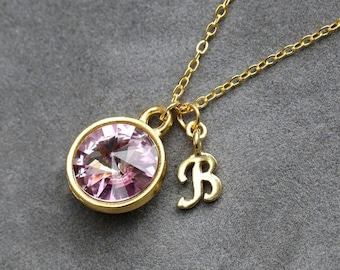 Initial Birthstone Jewelry, June Alexandrite Necklace, New Mother, Bridesmaids, Gold Letter Jewelry, Initial Necklace