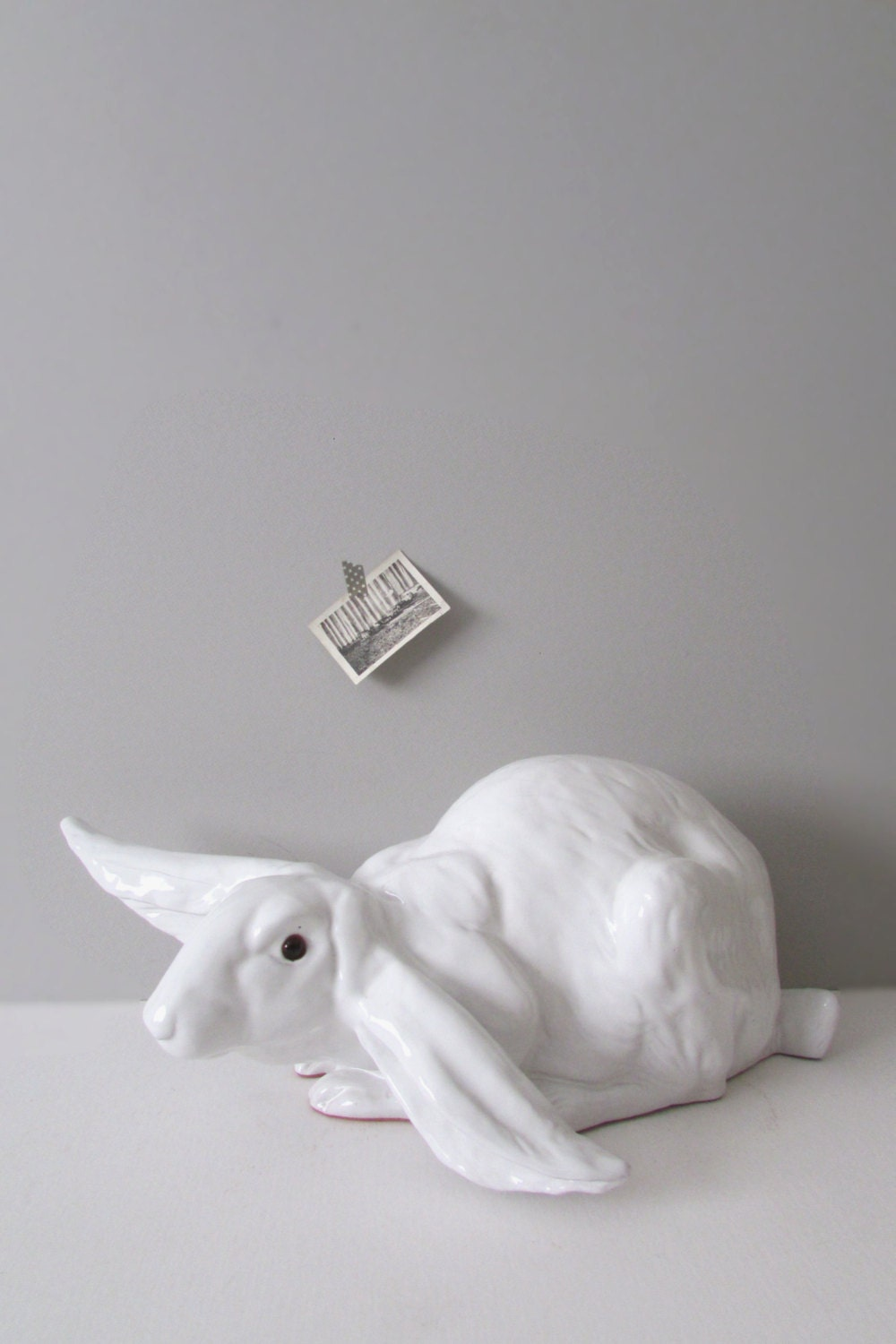 Extra Large White Ceramic Bunny Rabbit Figurine Baby