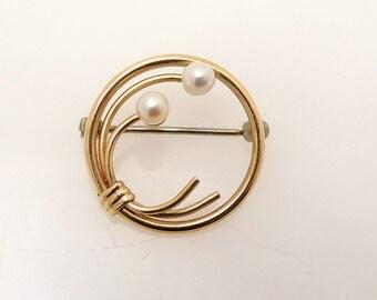 Vintage Krementz Pearl 14K Gold Overlay Brooch