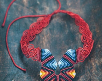 Fiber necklace red & blue RAIBOW CHOKER handmade by ARUMIdesign, adjustable cavandoli macrame choker