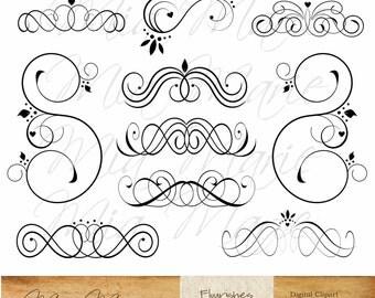 INSTANT DOWNLOAD - Digital Clip Art - Digital Flourish Swirl Digital Flourishes Swirls Hearts Clip Art Clipart