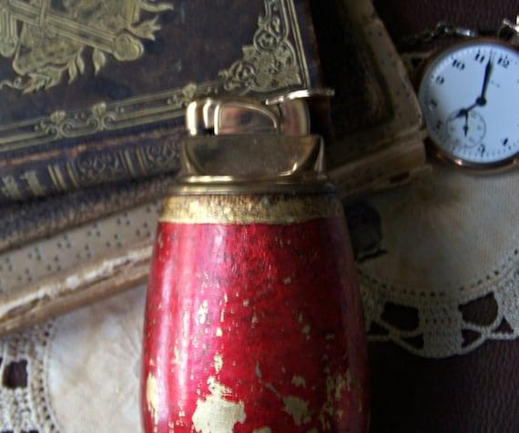 Vintage Italian Florentine Red Gold Lighter By