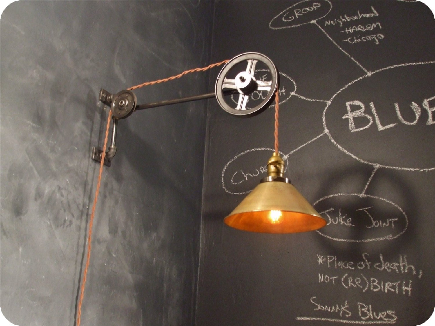 Vintage Wall Light Lamp Shades : Vintage Industrial Pulley Light Brass Cone Shade