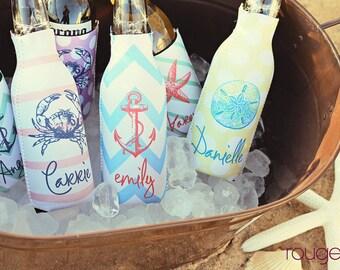 SEASIDE personalized monogram bottle beverage insulator - zippered back for longnecks - weddings, bachelorette, parties, beaches
