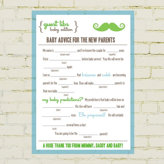 mad libs baby shower edition little man moustache by