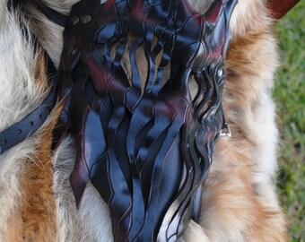 Deep Crimson Leather Haunted Tree Ent Mask - Living Flame