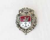 Vintage Brooch Pin Coro Crest Classic Cross Emblem Mid Century Designer Jewelry Costume