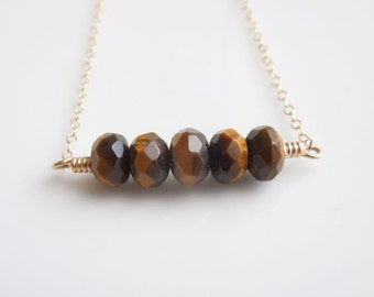Tiger Eye Bar Necklace - Trapeze Jewelry