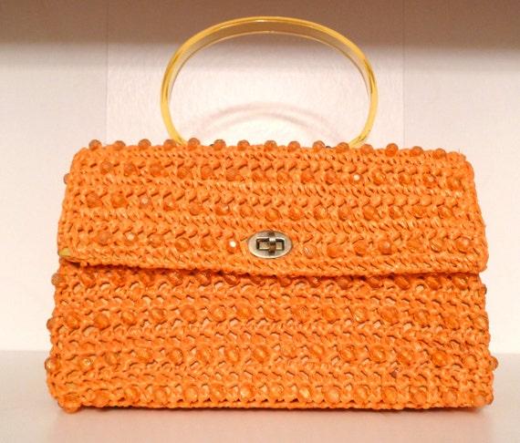 Raffia Beaded Handbag Orange Straw Purse Dena of Dallas Japan Lucite Beads Handle Crochet Woven Easter Spring Summer Ladylike FREE US SHIP