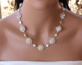 PEARL  RHINESTONE  NECKLACE, Coin Pearls, Crystal Necklace,  Bridesmaids, Bridal Party, Gift, Special Occasion, Prom, Cubic Zirconia,